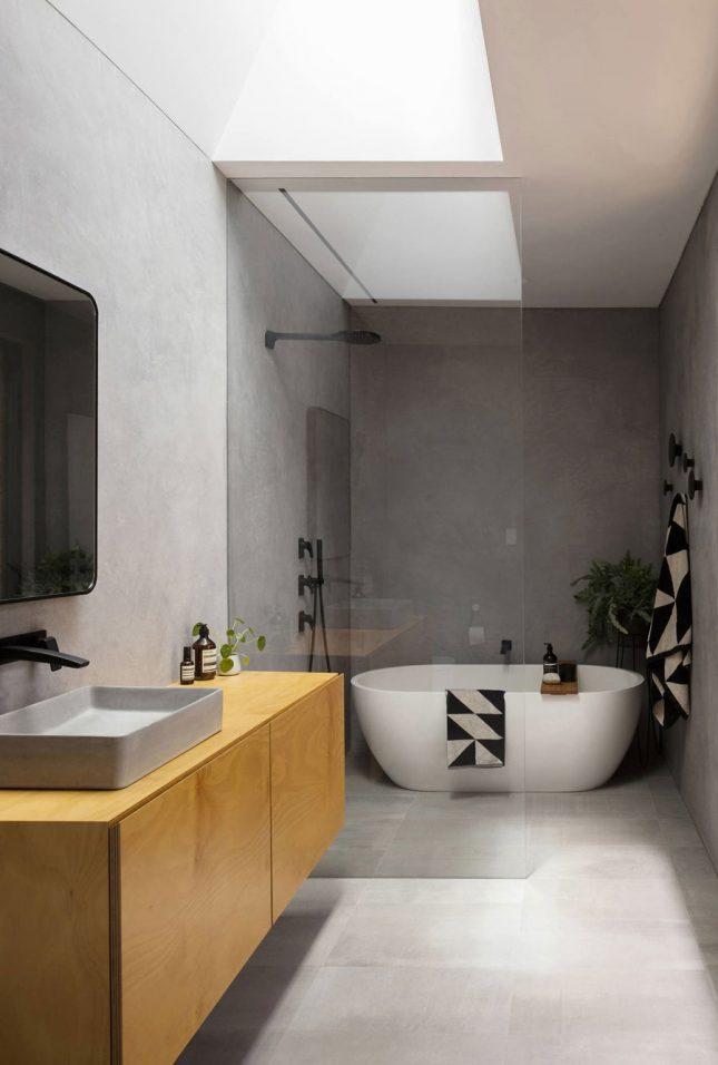 Moderne badkamers voorbeelden betonstuc