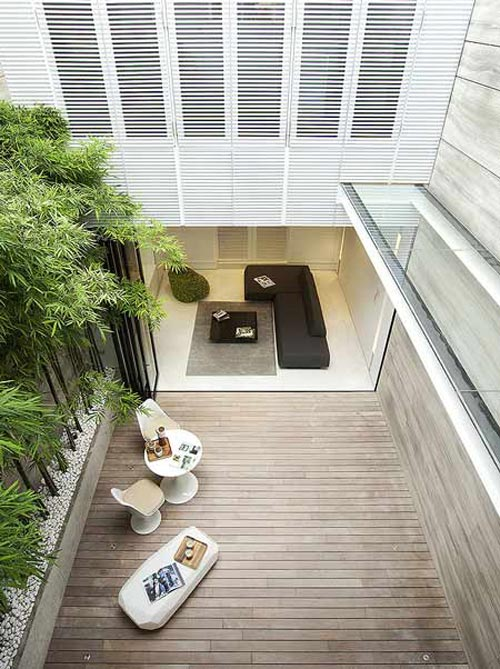 Moderne bamboe tuin in Singapore