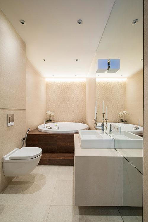 Moderne interieur inrichting van klein appartement in moskou interieur inrichting - Badkamer scheiding ...