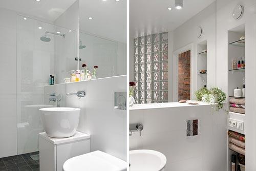 Moderne witte badkamer uit Göteborg