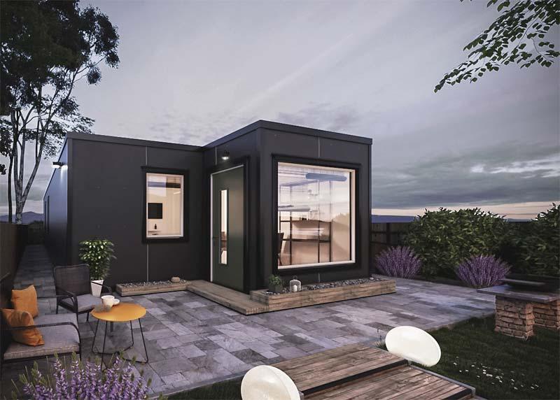 moderne zwarte containerwoning