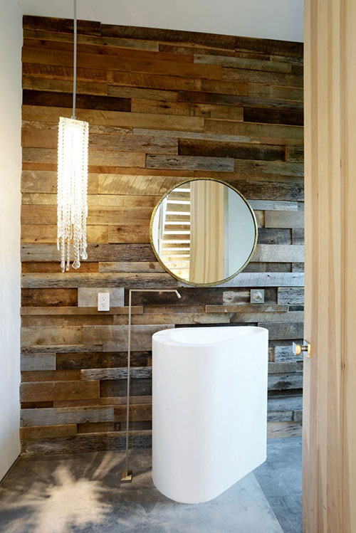 Mooie badkamer met metaal hout en beton interieur inrichting for Badkamer artikelen
