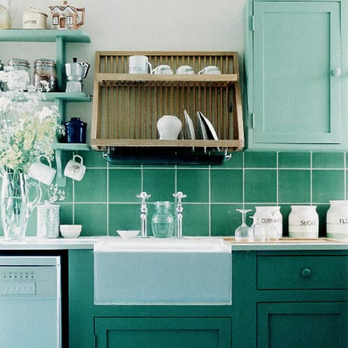 5 mooie groene keukens interieur inrichting for Blue green paint colors for kitchen