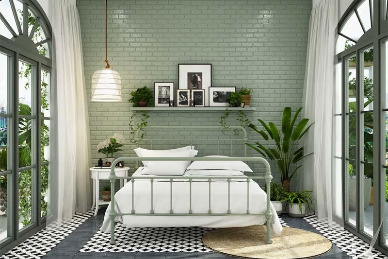 mooie groene slaapkamer