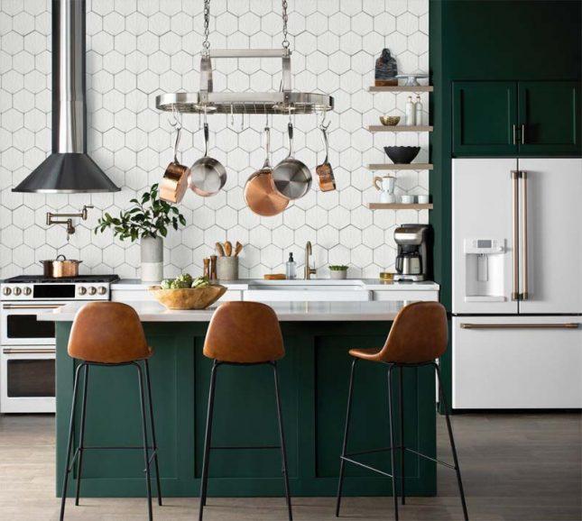 mooie smaragdgroene keuken