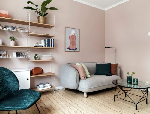 Mooie woonkamer slaapkamer combinatie in een klein eenkamerappartement van 30m2