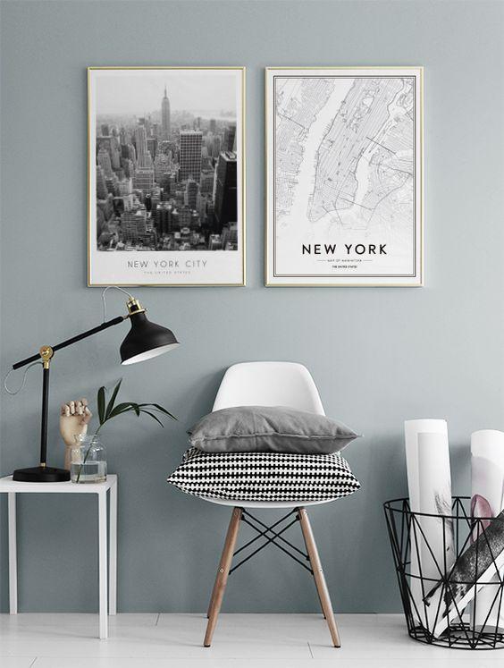 New York zwart wit foto muur