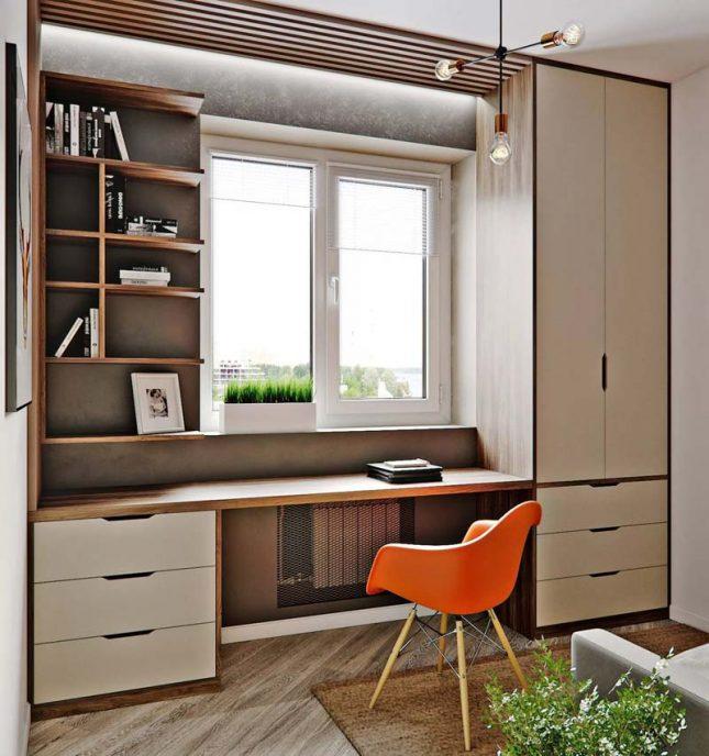 Klein kantoor inrichten huis raam ombouw