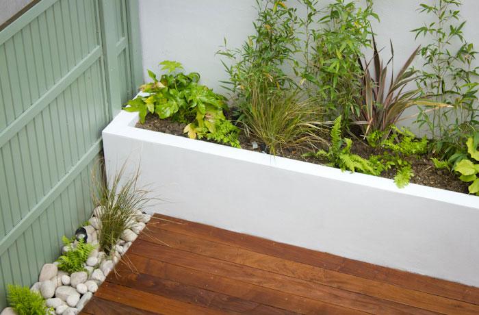 Onderhoudsvriendelijke tuin met rand van vaste plantenbakken