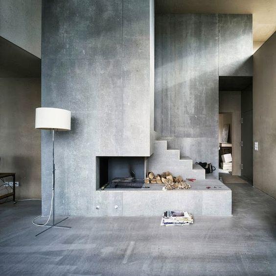 open haard muur met betonstuc interieur inrichting. Black Bedroom Furniture Sets. Home Design Ideas