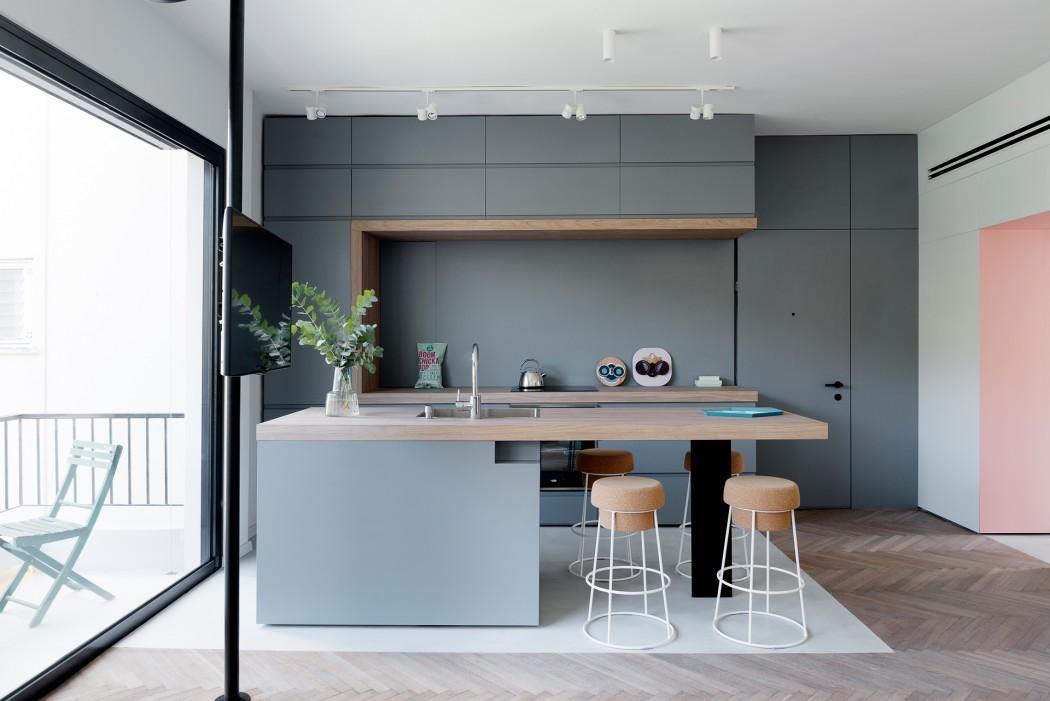 Open keuken met eiland voor 55m2 appartement interieur inrichting - Deco keuken oud land ...