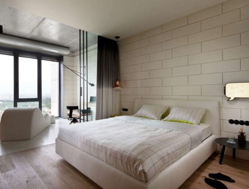 Open slaapkamer in een moderne penthouse