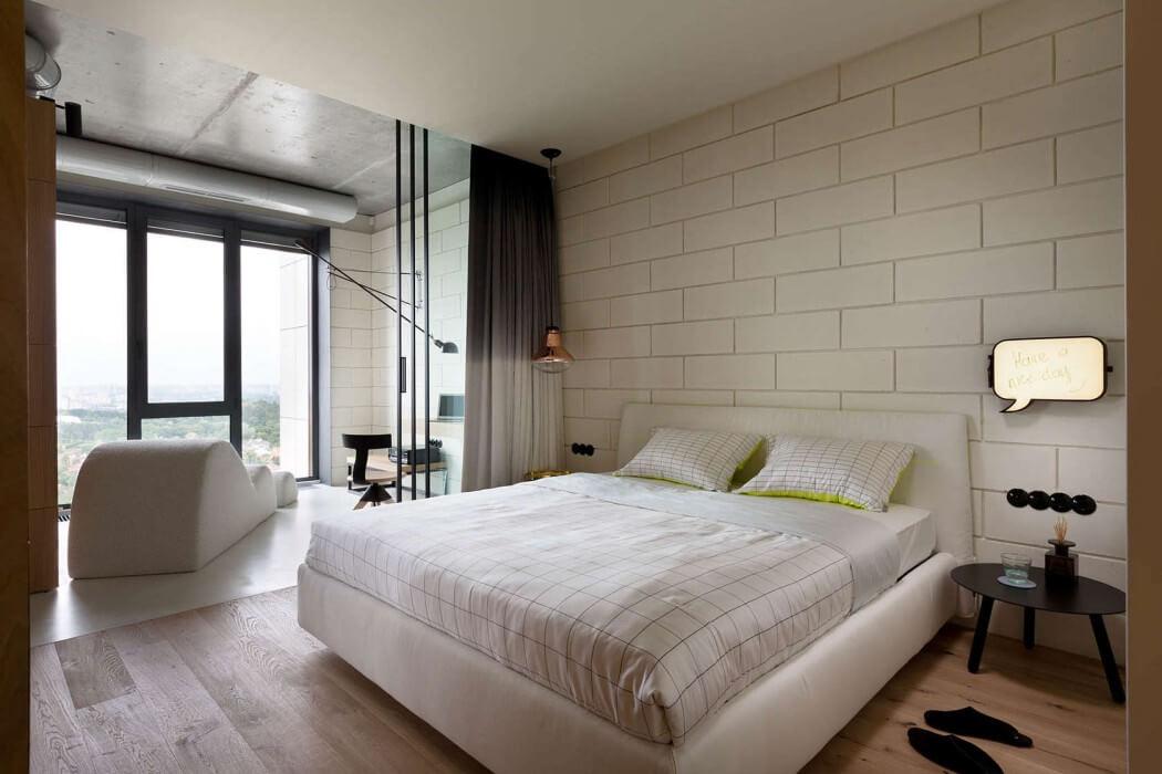 slaapkamer met rond bed interieur inrichting