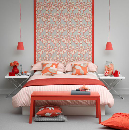 Oranje grijs slaapkamer
