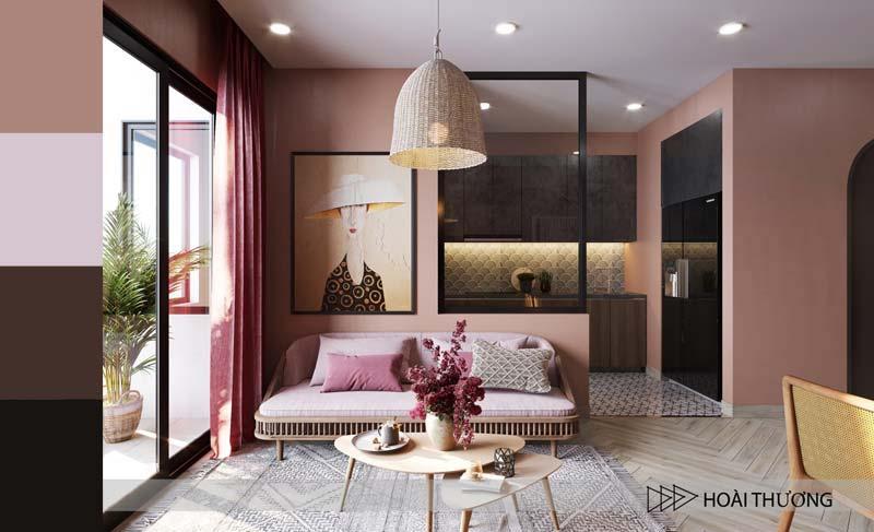 oud roze kleur combineren interieur zwart in mooie woonkamer