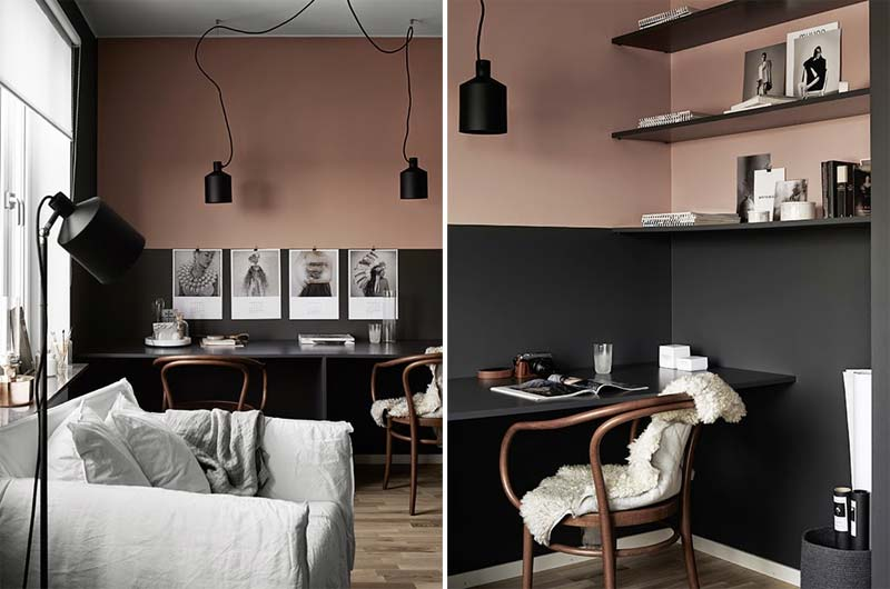 oud roze muur zwarte lambrisering werkplek