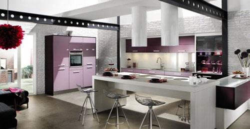 Paarse keukens  Interieur inrichting