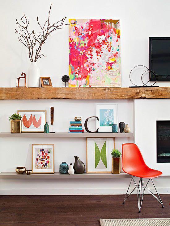 plank als tv meubel boven open haard