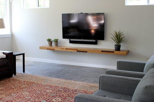 Plank als tv meubel interieur inrichting - Muur plank onder tv ...