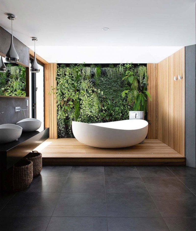 plantenwand in badkamer