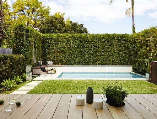 Praktische moderne tuin met zwembad