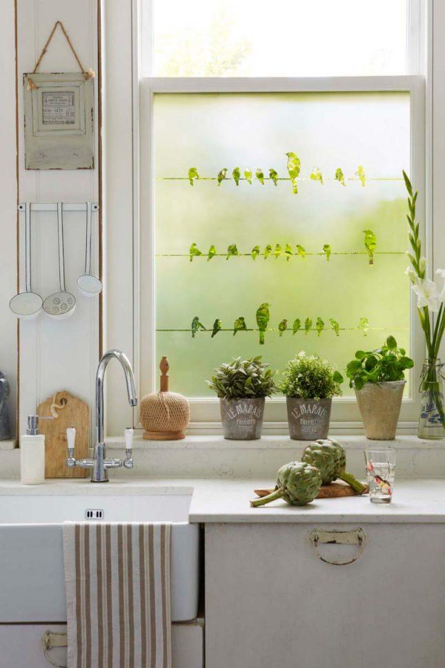 raamfolie vogeltjes keuken