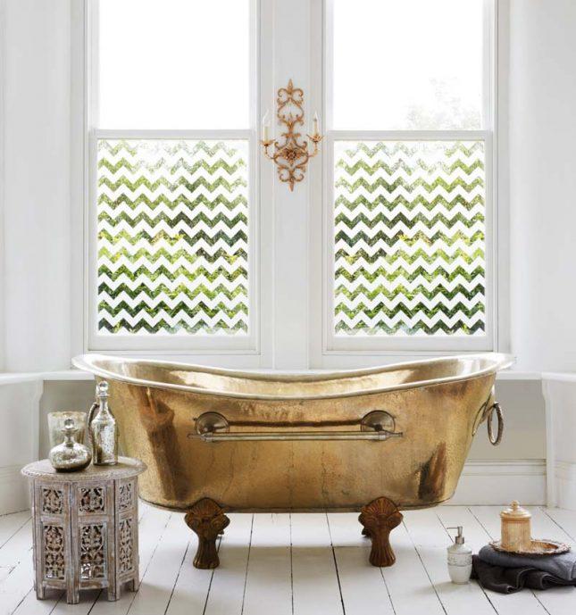 raamfolie zigzag badkamer