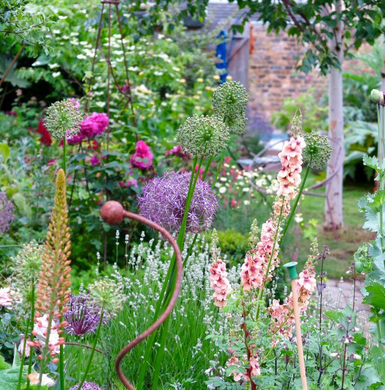 romantische tuin ideeën kleurrijke bloemen