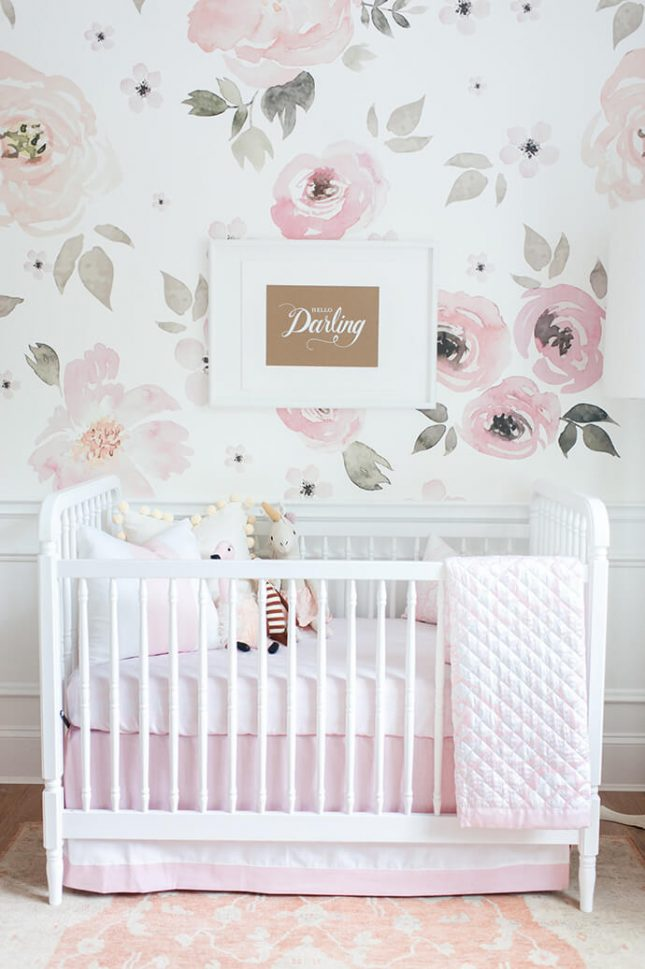 Super Roze babykamer met bloemenbehang | Interieur inrichting XF17