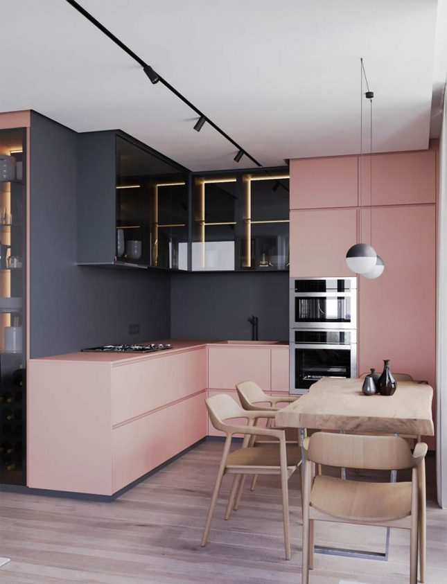 roze keuken corian keukenblad