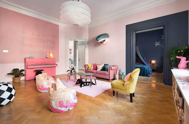 Roze Scandinavische woonkamer | Interieur inrichting