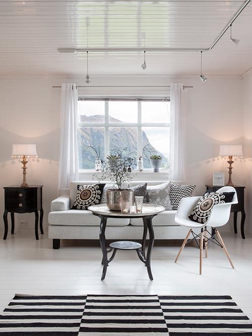 Rustige en gezellige interieur inrichting uit Norwegen
