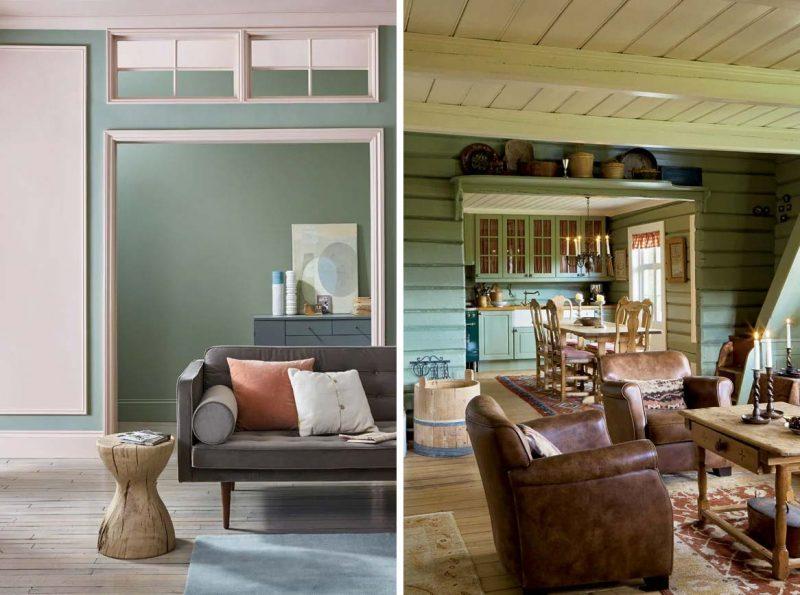 Beide woonkamers zijn geverfd met de muurverf Lichen van Farrow & Ball.