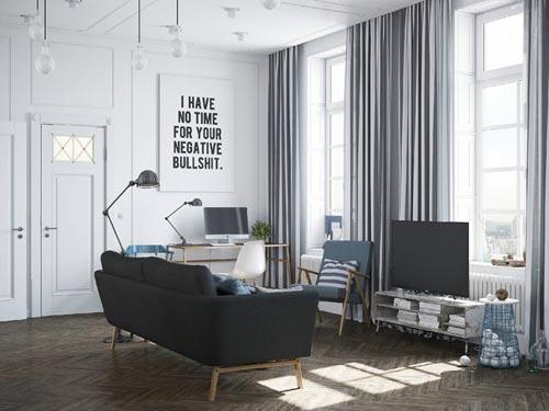 Scandinavisch Appartement Inspiratie : Scandinavisch industrieel in russisch appartement interieur