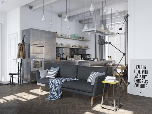 scandinavisch industrieel in russisch appartement