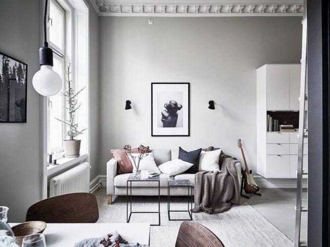 scandinavisch interieur kleine woonkamer