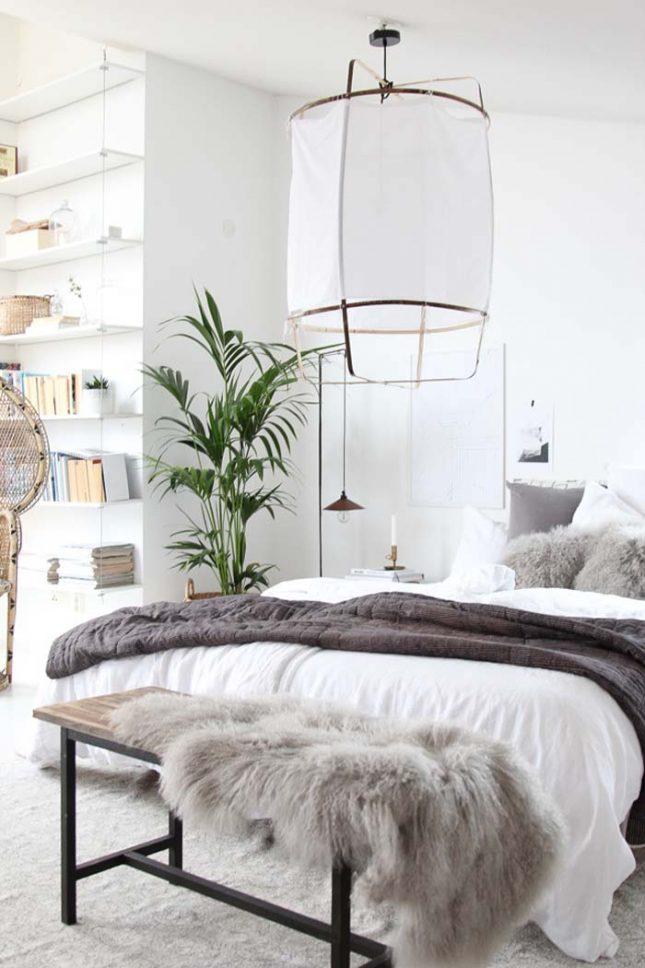 scandinavisch interieur knusse slaapkamer