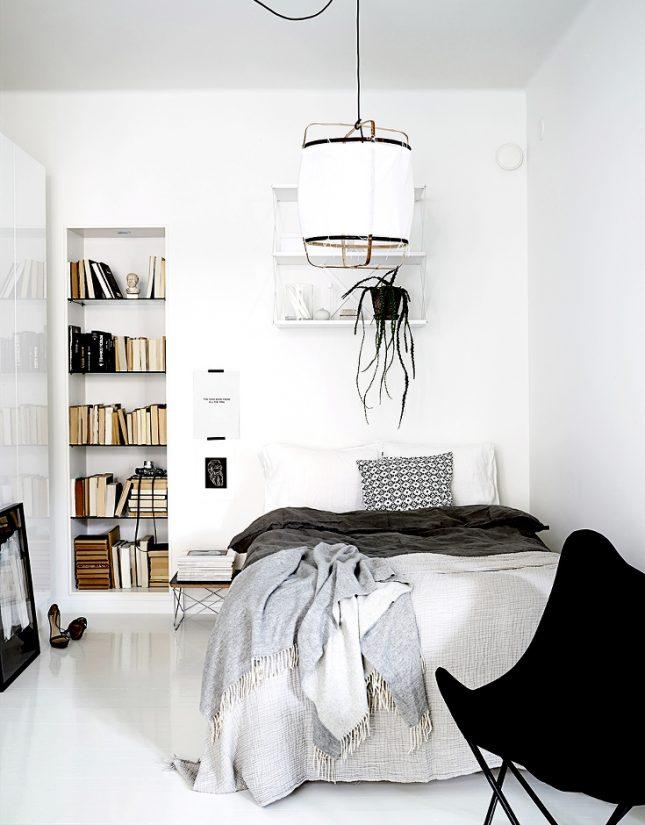 scandinavisch interieur witte slaapkamer