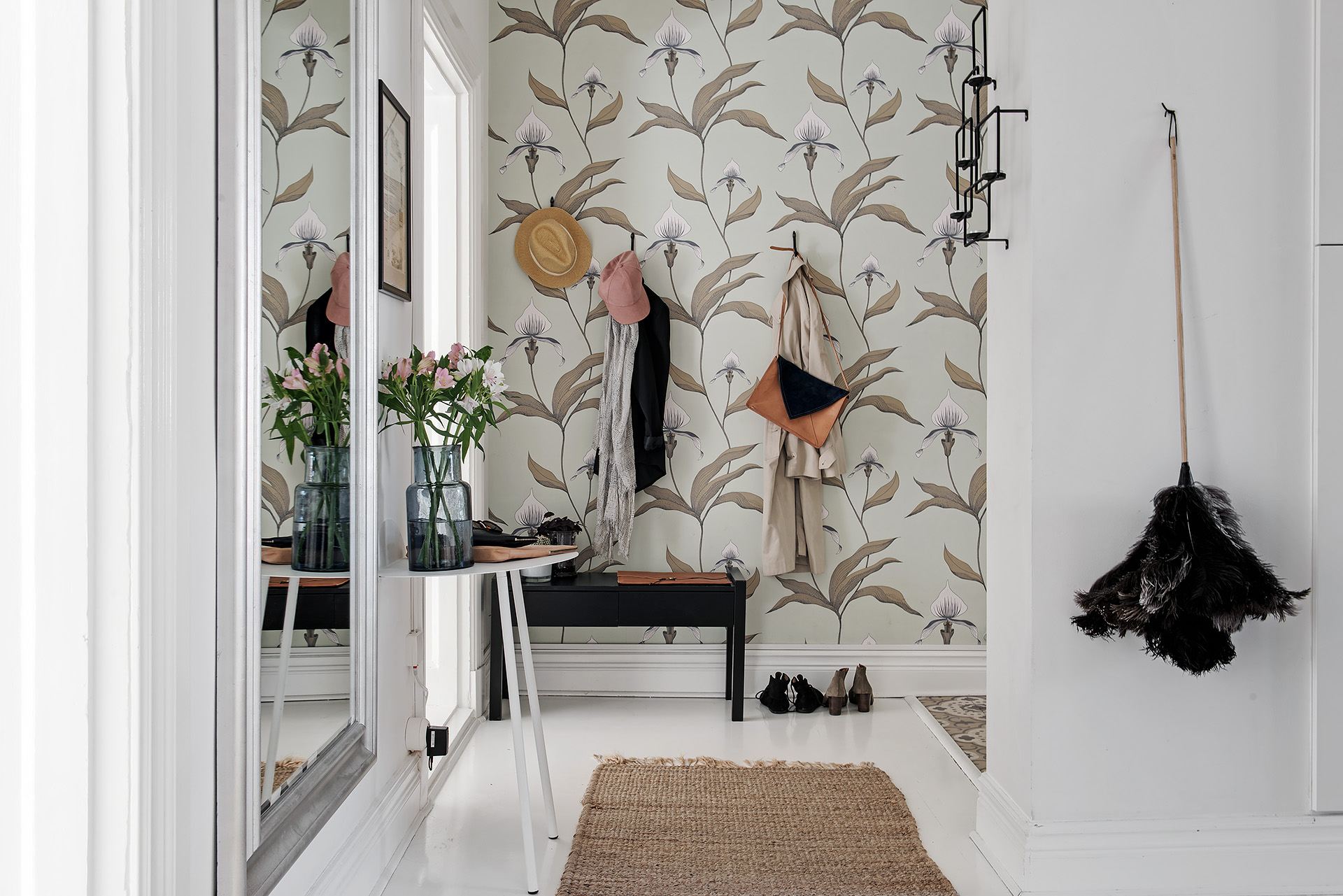 Scandinavische hal met open keuken interieur inrichting
