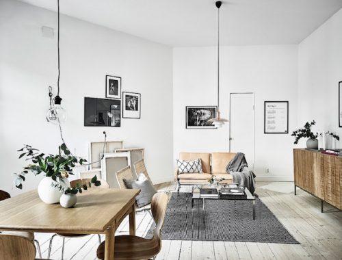 Woonkamer Zwart Bruin : Scandinavische woonkamer met zwart wit en bruintinten interieur