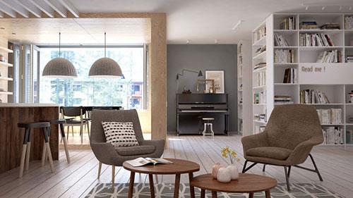 Scandinavische woonkamer met mooie meubels interieur inrichting - Moderne lounge stijl ...