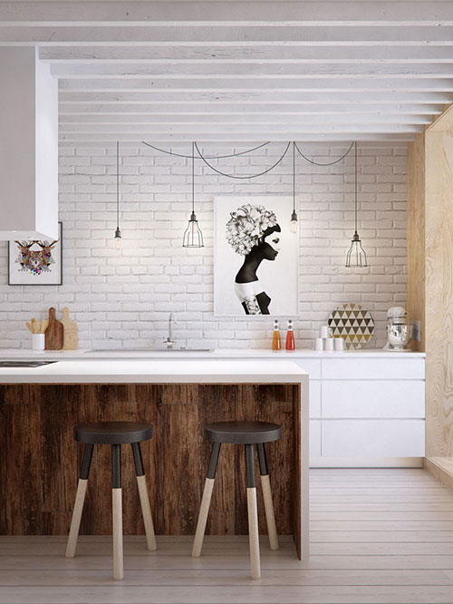 Scandinavische Design Keuken : White Kitchen with Wood