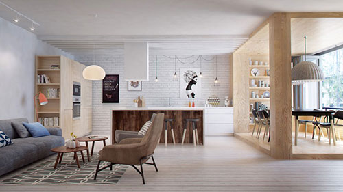 Scandinavische woonkamer met mooie meubels