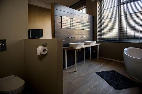 Slaapkamer met badkamer Amsterdamse loft  Interieur inrichting