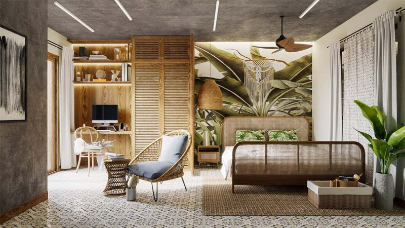 slaapkamer groen behang botanisch