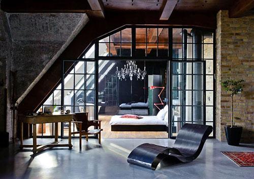 Slaapkamer industriele loft in Boedapest