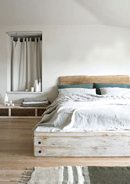 Slaapkamer inrichten met steigerhouten bedden | Interieur inrichting