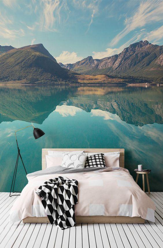 Slaapkamer Met Fotobehang : Landscape Wall Mural Bedroom