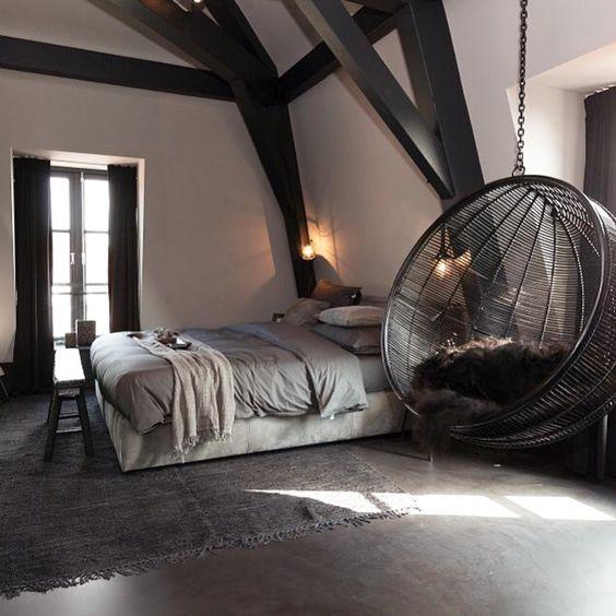 Slaapkamer inspiratie hangstoel en schommel
