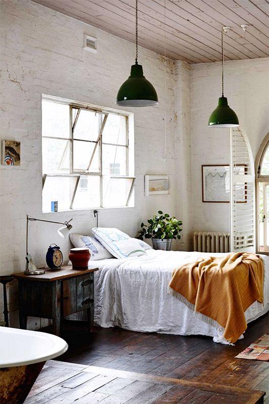 Slaapkamer inspiratie industriële lamp